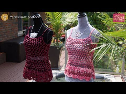 How to Crochet Floral Cami: Women's Top. This easy to make camisole is simply a crochet rectangle shape. Get the free pattern and alternative sizes at http:/...