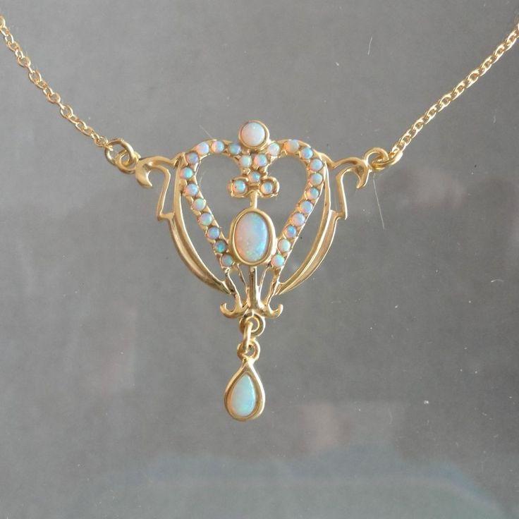 Opalschmuck Opal Collier Trachten Jugendstil Art Nouveaux Silber gelb vergoldet