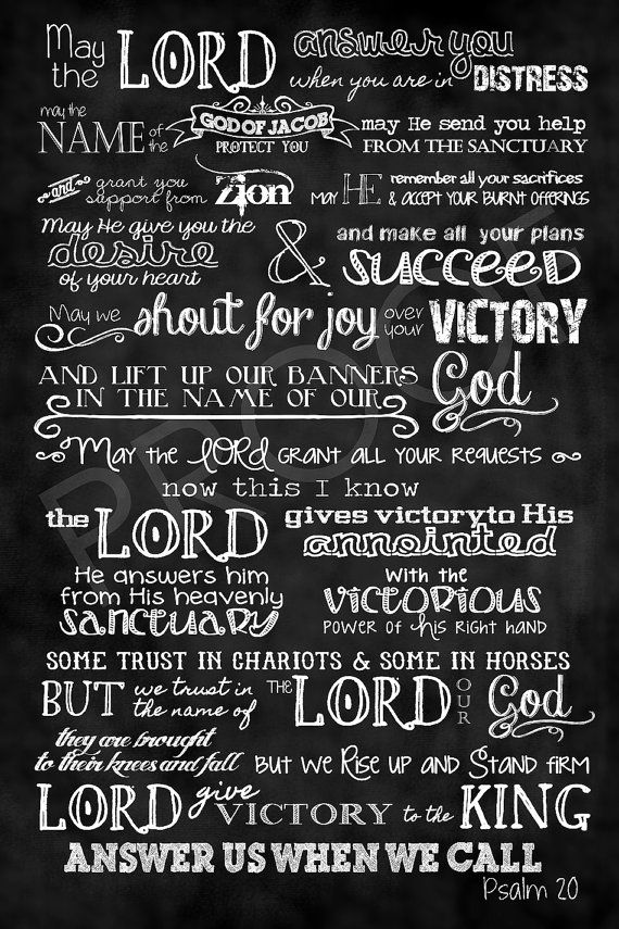 Mounted Chalkboard Art 16x24  Psalm 20 by ToSuchAsThese on Etsy, $55.00