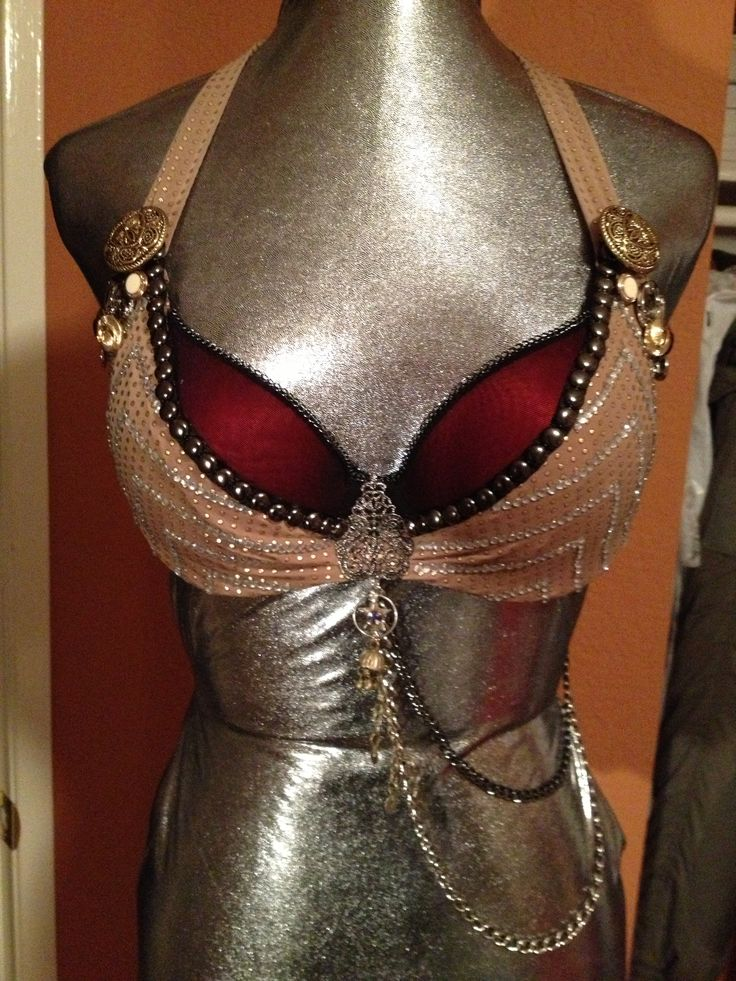 Tribal Belly Dance Bra.  I like the two different fabrics, less tribal, more glam.