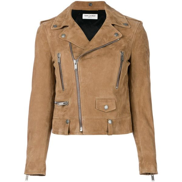 Saint Laurent Brown Suede Biker Jacket (25.860 DKK) ❤ liked on Polyvore featuring outerwear, jackets, coats, brown, brown jacket, suede moto jacket, biker jacket, beige moto jacket and brown biker jacket