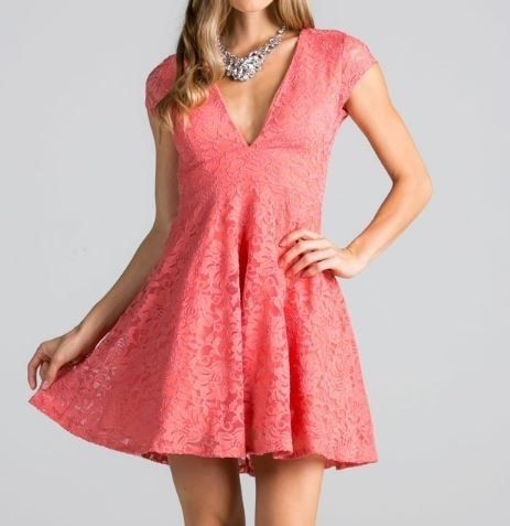 Love You Always And Forever Deep Neck Peach Lace Dress