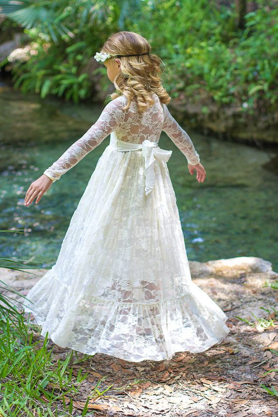 Flower Girl Dress-lvory Lace Long Sleeve Dress- Baby Flower Girl Dress- Dresses- Ivory Girls Dress-Cream Dress- Rustic Wedding Dress