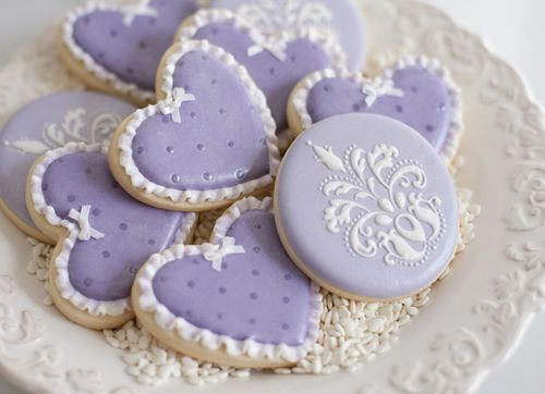 Lilac heart cookies with icing ruffles