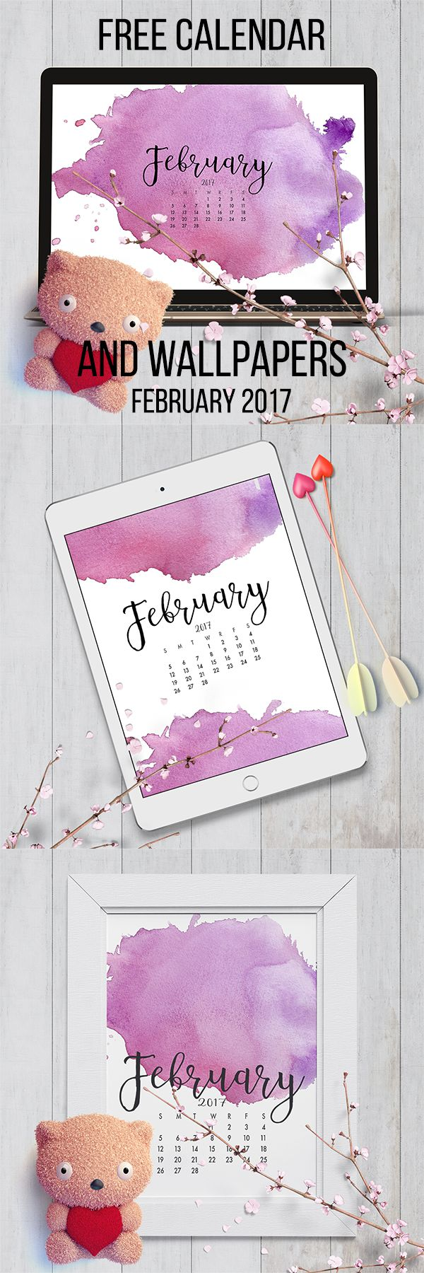 February 2017 Free Calendar and Wallpapers