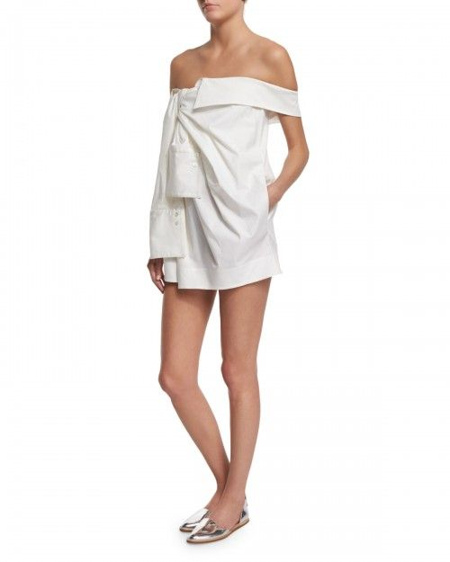 Monse+Off+the+Shoulder+Shirtdress+White+Women's+6+|+Frock,+Dress+and+Clothing