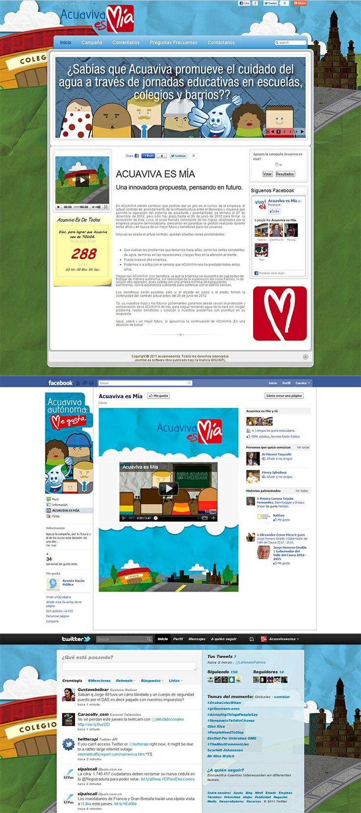 Campaña Acuaviva es mía, diseño web y estrategia de redes sociales