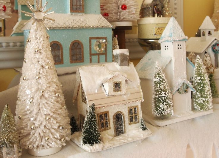 Beautiful Vintage Glitter Putz House Christmas Village * DIY Inspiration *  Pastels Are Perfect For Valentineu0027s