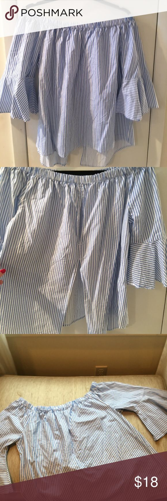 Pinstripe Bardot top Super cool blue and white off the shoulder top with a bell sleeve, small keyhole and a slit up the back, never worn with tags Live 4 Truth Tops Blouses