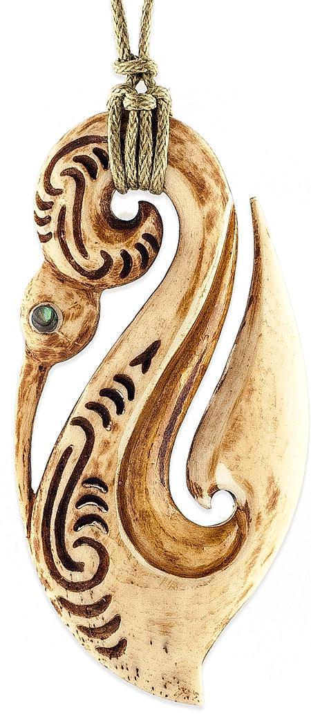 Antiqued Maori Bone Guardian Manaia Pendant