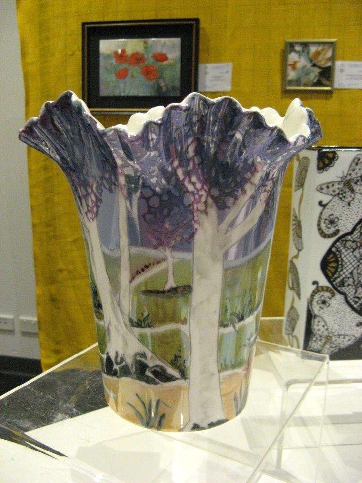 Jillian Varga Australiana Vase one in lustre & pen work. Shown at Campbelltown 2015.