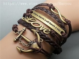 Anchor - Love - Motto - Infinity bracelet