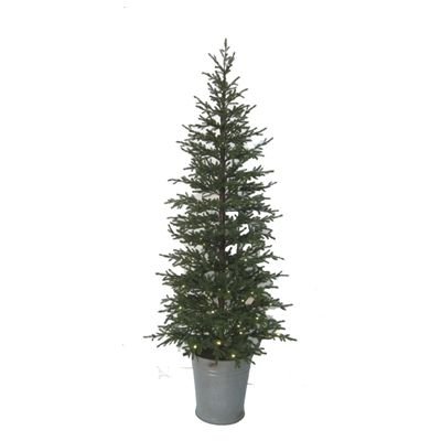 Holiday Living 5-ft Pre-Lit Potted Pine Artificial Christmas Tree with 100-Count White LED Lights