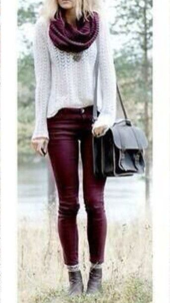 Burgundy and Ivory for fall fashion <3 - thick knit scarf - fall colors