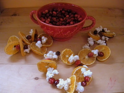 cranberry, dried orange, and popcorn garland--Just a picture. Love the idea of doing this while watching a movie together.