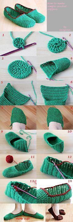 How to Make Simple Crochet Slippers ♥❥Teresa Restegui http://www.pinterest.com/teretegui/❥♥