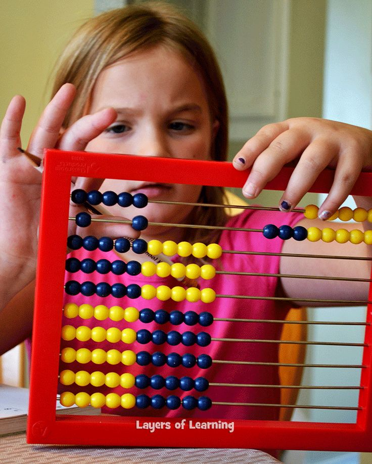 Our abacus might just be my favorite math manipulative. At first I liked it because it helped my kids get math done faster, but when I saw their number sense develop, I fell in love!