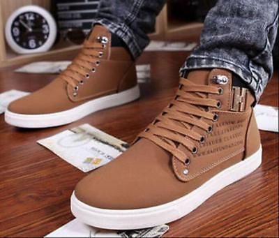 Fashion Men's 2017 Casual Suede Lace Loafers High Top Sneakers Ankle Boots Shoes | eBay