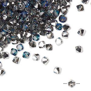 Бусины, компании preciosa, чешский хрусталь, синий кристалл Бермуды, 4мм граненый биконус. Продается в pkg из 48.