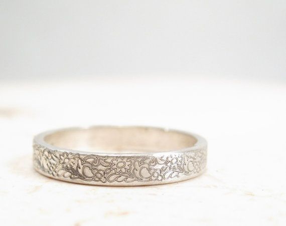 Silver Flower Ring  Floral Wedding Band by emilyjdesign on Etsy
