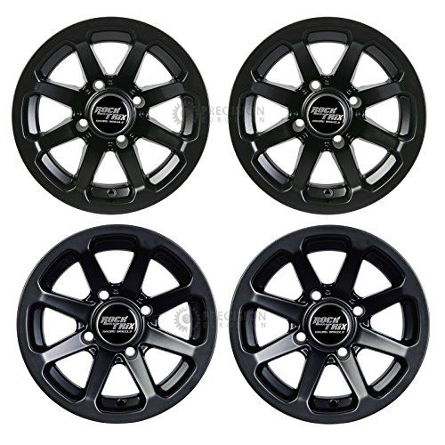 "4pc 12"" RockTrix ATV Wheels 4x110 Rims | 12x7 | 5+2 F / 2+5 R Offset | SRA Vehicles - Honda Foreman Rancher Fourtrax Rubicon Suzuki Vinson Solid Rear Axle 4/110. For product info go to:  https://www.caraccessoriesonlinemarket.com/4pc-12-rocktrix-atv-wheels-4x110-rims-12x7-52-f-25-r-offset-sra-vehicles-honda-foreman-rancher-fourtrax-rubicon-suzuki-vinson-solid-rear-axle-4110/"