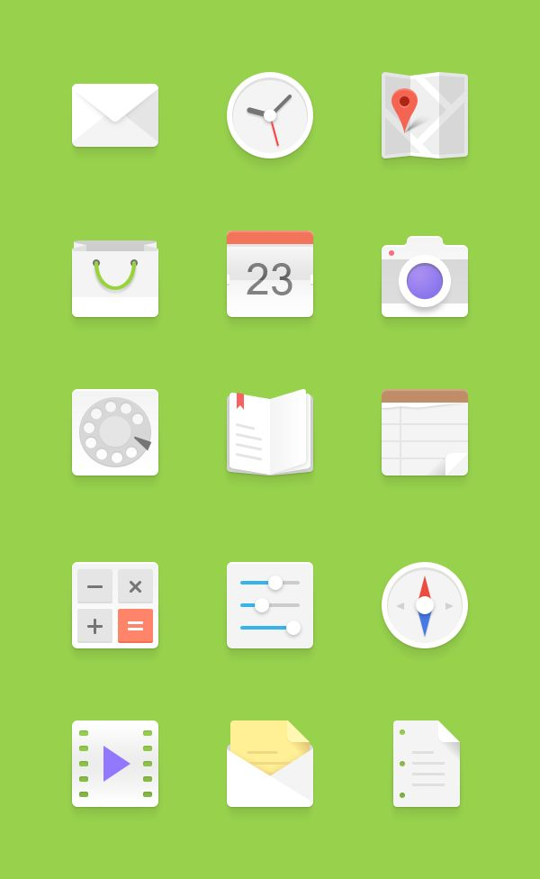 Light Android Icons #flat #design #inspiration