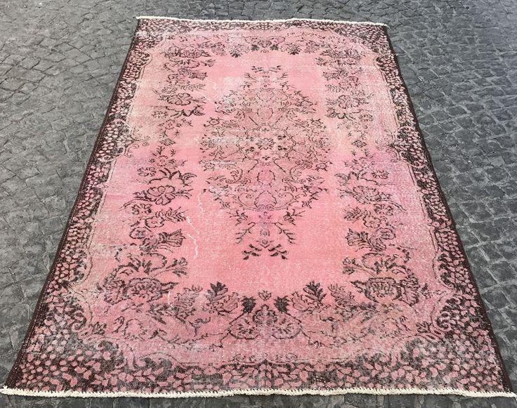 overdyed light pink carpet handmade pink rug distressed rug turkish rug anatolian