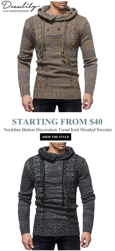ccbadeaeddca Men s Fashion Personality Neckline Button Decoration Trend Knit Hooded  Sweater in 2018