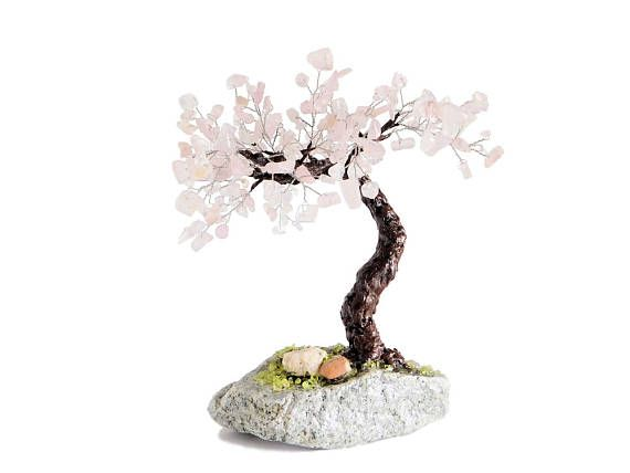 22cm Rose Quartz Windswept Cherry Blossom Sakura Bonsai on