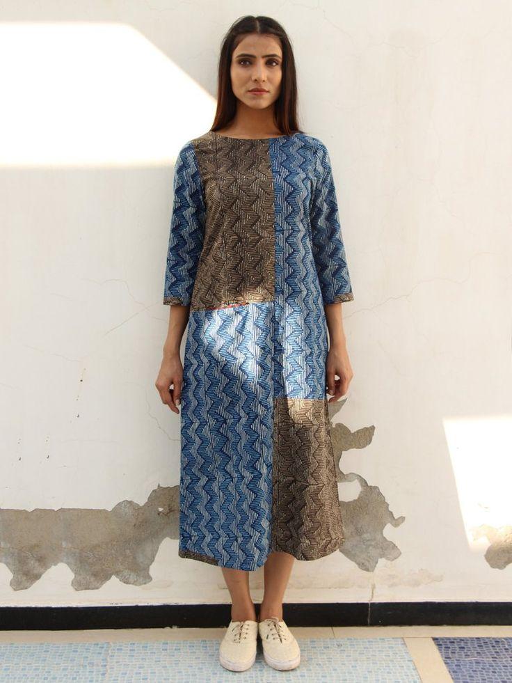 Blue Brown Cotton Block Printed A Line Kurta