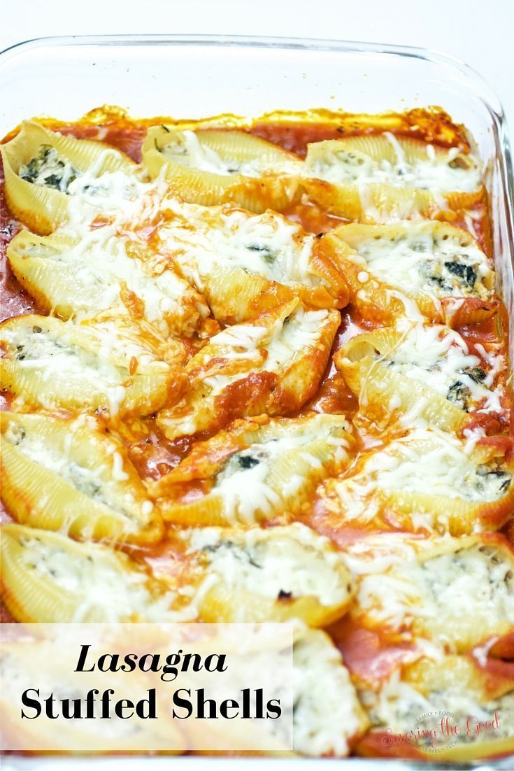 Lasagna Stuffed Shells Recipe. Super easy for a weeknight dinner. PLUS there is a VIDEO to show you a trick to get the shells filled without a huge mess!