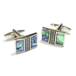 Abaolne Shell Split Screen Design Cufflinks - Abalone Shell cufflinks in a smart rectangular cufflink. Features a Grecian pattern across the middle.  As every shell is unique, the patterns and colouring on these cufflinks are all different.