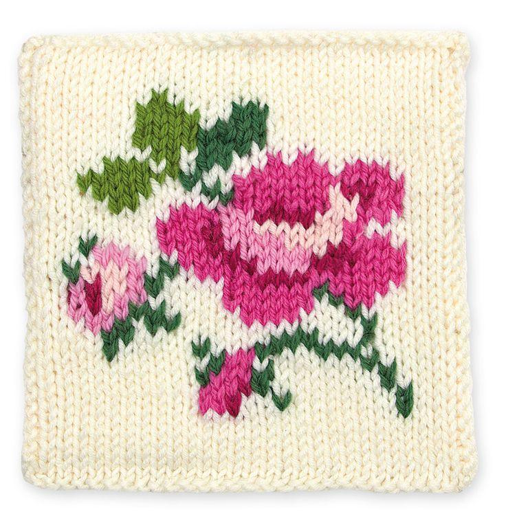 Knit Rose Floral Block