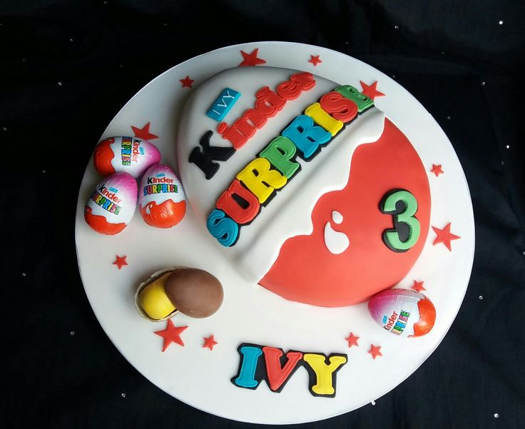 Kinder Surprise Egg cake which has a hidden Kinder egg inside