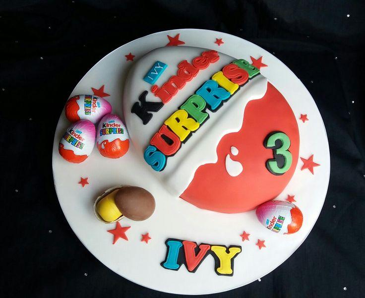 Kinder Surprise Egg cake which has a hidden Kinder egg inside