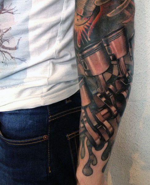 Men's Piston Tattoos Sleeve