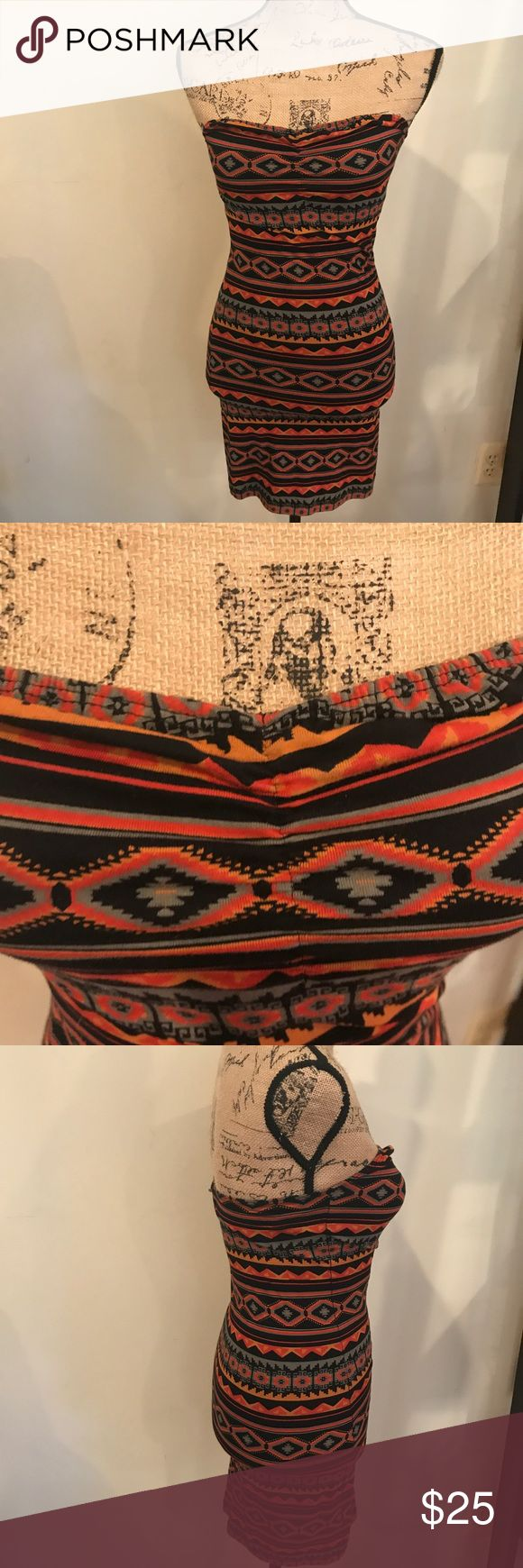 Obey Propaganda Aztec Bodycon Strapless Dress Excellent condition, barely worn! Bold Aztec print that accents your body in this Bodycon dress. Wear this with a jean jacket to make it casual or dress it up with heels! Obey Dresses Strapless