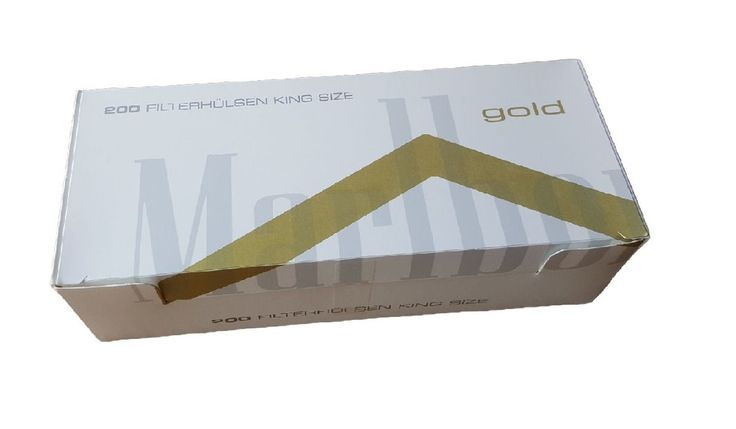 Tuburi tigari Marlboro Gold  Pretul pentru tuburi tigari Marlboro gold este pentru 1 cutie cu 200 tuburi tigari.  Ambalaj:             200 tuburi tigari/cutie  Culoare filtru:      maro  Lungime filtru:     15 mm  Lungime totala:    82 mm  Diametru:            8 mm
