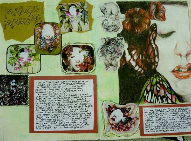 A Year 11 exam sketchbook - artist studies