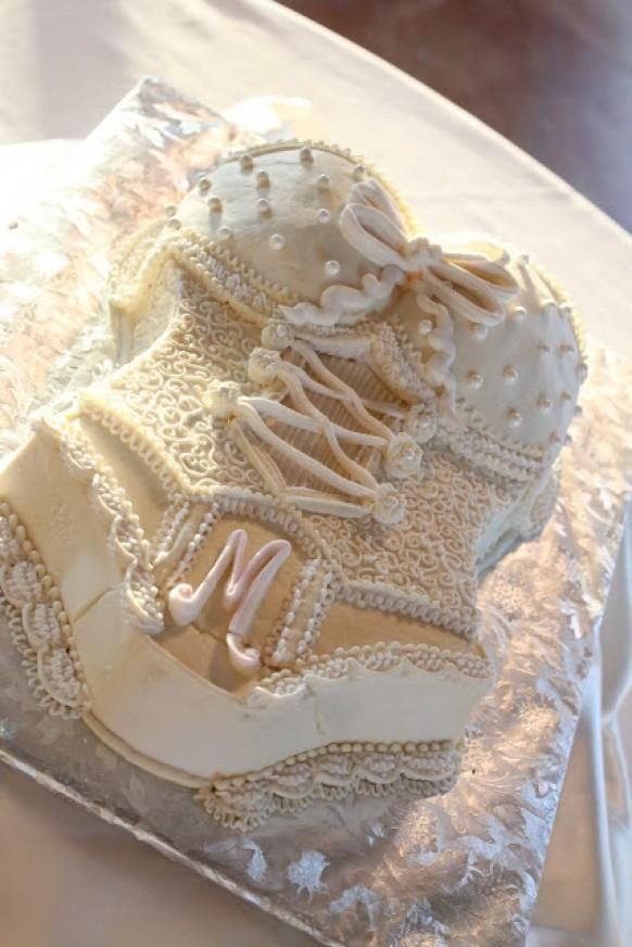 Wedding Bridal Shower or Bachelorette Party Cake Ideas ? White Lace Lingerie Bachelorette Party Cake