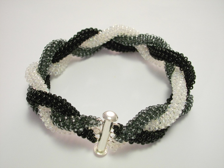 Beautiful handmade beaded peyote braid bracelet. Round tubular peyote stitch jewelry. Modern geometric jewelry.