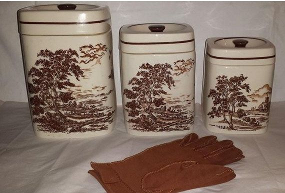 Brown Transferware Canister Set, Vintage, Daeware, Brown Country Scene, Transfer Canister Set,  Currier Ives Style, Set of 3, New Jersey by JunkYardBlonde on Etsy