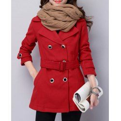 Chic Turn-Down Collar Long Sleeve Pure Color Self Tie Belt Women's Peacoat