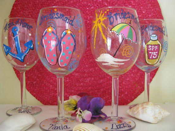 beach tropical wine glass | Hand painted Personalized Wine Glass Beach Theme by ImGlassyEyed