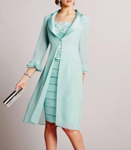 Modo di lunghezza del ginocchio in chiffon verde menta appliques madre della  Vestito da sposa con il rivestimento maniche 3/4 elegante collo alto delle donne  Abiti