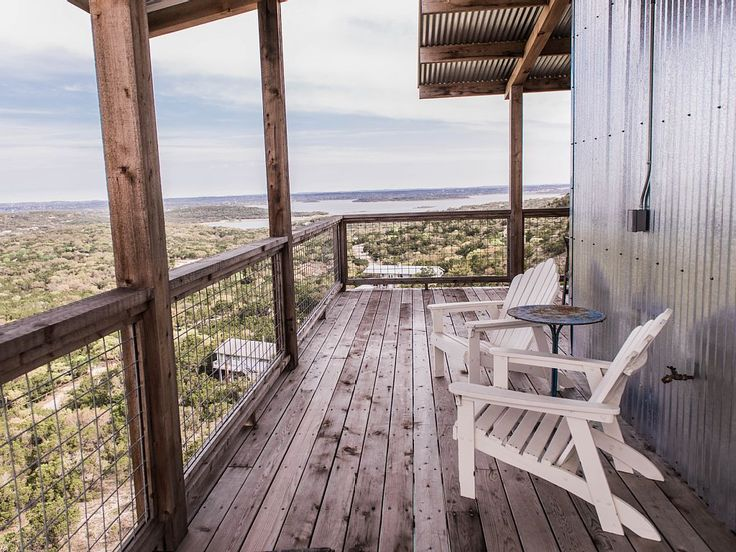 """This """"Sky House"""" in Canyon Lake, Texas, has multiple covered decks to take in the beauty! #LakeHouse"""