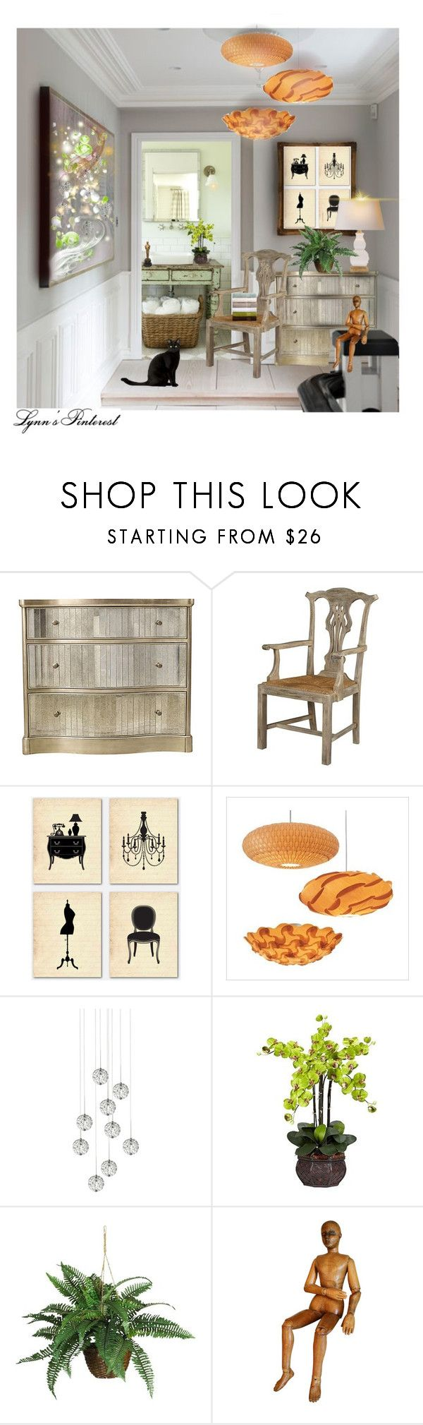 """The Upstairs Hallway 34 - #3059"" by lynnspinterest ❤ liked on Polyvore featuring interior, interiors, interior design, home, home decor, interior decorating, Hooker Furniture, Furniture Classics, WALL and dform"