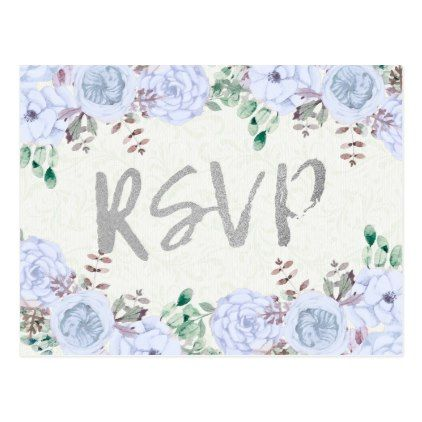 #Watercolor Floral Silver Script Wedding RSVP Reply Postcard - #wedding gifts #marriage love couples