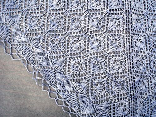 I designed this to wear to the Maryland Sheep & Wool Festival last year, and knit it in Knitpicks Bare dyed blue, on a size 4 circular needle. The Flickr set has more pictures and the complete charts. This shawl is knit from the center back, so you start with very few stitches and end with a…