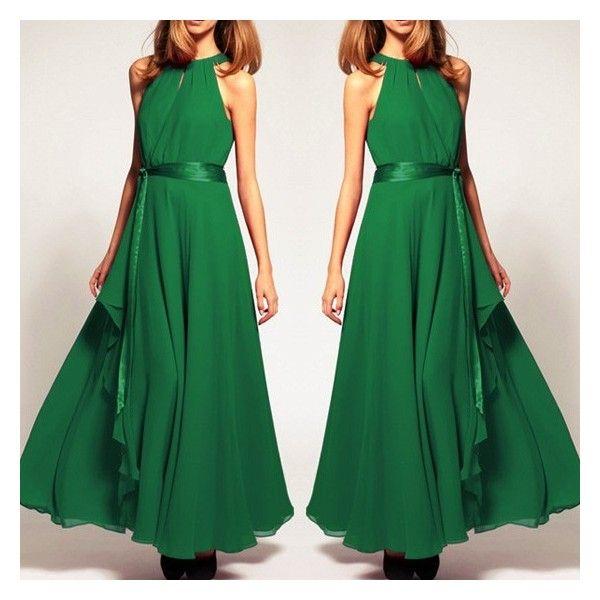 GM-Fashion Green Plain Belt Ruffle Draped Tiered Irregular Round Neck Maxi Dress